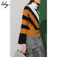 Lily春新款女装拼色条纹高领短款毛衣毛针织衫118400B8355