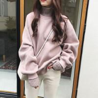 冬季韩版怪味少女上衣百搭洋气毛衣小衫加绒假两件高领打底衫长袖