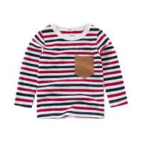 童装男童长袖T恤莱卡棉条纹宝宝打底衫上衣