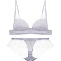 新款法式bralette无钢圈蕾丝女士内衣文胸套装性感三角杯胸罩 灰色 文胸+内裤