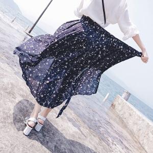 谜秀 碎花雪纺半身裙长裙2017夏季新款韩版绑带一片式裙子女装潮