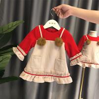 女宝宝裙子冬女童连衣裙加绒1-3岁小童冬装小女孩公主裙