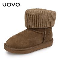 UOVO女童雪地靴中大童短靴儿童棉鞋新款翻边公主加绒保暖棉靴子 米拉