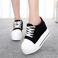 春夏季白色帆布鞋女韩版学生内增高厚底低帮鞋百搭休闲松糕底纯色
