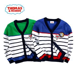 【满100减50】托马斯童装男童春装时尚拼接潮流条纹开衫针织衫毛衣托马斯和朋友毛线衣