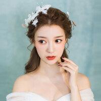 新娘头饰超仙森系羽毛结婚发饰套装婚纱礼服大气饰品