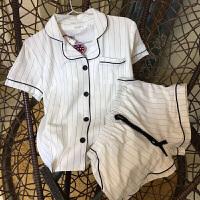 2018新款日系白色条纹女士衬衫睡衣套装短袖短裤开衫两件套纯棉家居服女夏. 白色