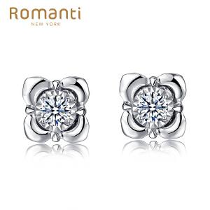 Romanti/罗曼蒂白18k金钻石耳钉女款四爪钻石耳坠耳饰需定制
