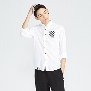 美特斯邦威长袖衬衫男衬衫春装男长袖撞色印花棉弹衬衫722030