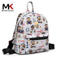 莫尔克韩版时尚小熊印花女双肩包背包休闲旅行背包书包