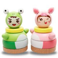 木丸子木质玩具 木制环保儿童玩具青蛙不倒翁 彩虹塔套柱 儿童益智玩具