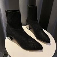秋冬新款2019飞织女靴时尚百搭高跟鞋粗跟毛线弹力靴女式短筒靴子