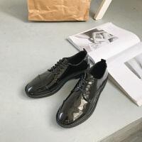 18春秋英伦风女鞋平底复古学院风chic单鞋圆头系带黑色ins小皮鞋