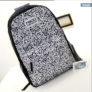 韩版双肩包女中学生书包潮流男个性二维码休闲时尚背包撞色旅行包