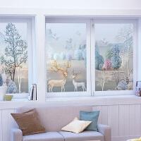 欧式磨砂玻璃贴膜卫生间移门装饰窗户防撞遮光贴纸3D立体静电麋鹿