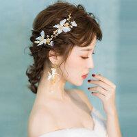 新娘头饰森系仙美蝴蝶边夹结婚发饰套装婚纱礼服饰品