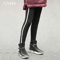 【跨店满1000减700/满500减300】Amii风度单品 棉质弹力镂空卫衣女 秋新长袖上衣
