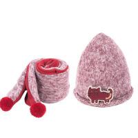 婴儿儿童帽子秋冬款围巾两件套套装男童女童尖顶帽