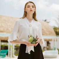 Lagogo/拉谷谷2019夏季新款蕾丝系带喇叭袖雪纺上衣女IASS434A15