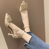 凉鞋女2019新款凉鞋女仙女风女士凉鞋细跟高跟鞋尖头浅口凉鞋女