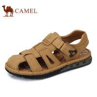 camel骆驼男鞋 夏季新品 户外凉鞋男士休闲鞋磨砂牛皮鞋男