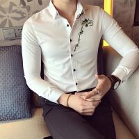 秋冬衬衫长袖衬衫青少年韩版常规尖领秋季男士修身衬衣潮长袖