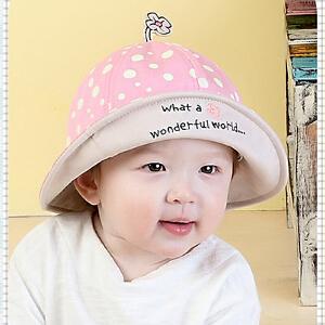 Yinbeler一朵小花婴儿波点盆帽女宝宝纯棉遮阳帽婴儿帽子女童男童太阳帽渔夫帽凉帽