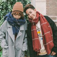 冬季男女韩版长款情侣围巾双面格子英伦两用披肩围脖学生百搭针织