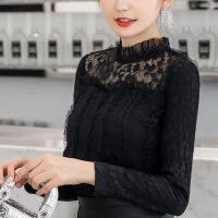 时尚洋气小衫女长袖秋冬2018新款加厚保暖百搭大码加绒蕾丝打底衫