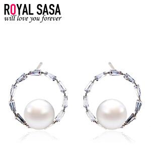 皇家莎莎耳钉女925银针贝珠韩国版甜美耳环耳饰气质简约耳坠饰品生日礼物
