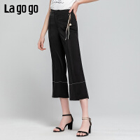 Lagogo/拉谷谷2019年夏季新款时尚女通勤OL休闲裤长裤IAKK434A62
