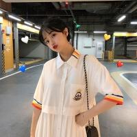 彩虹领衬衫连衣裙小个子学生宽松小清新拼接百褶裙子女夏季 白色