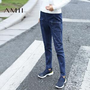 AMII[极简主义]2017年春装新品宽松大码高腰水洗牛仔裤女直筒长裤子