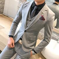 秋冬套装修身韩版发型师西装商务休闲正装男士三件套西服新郎礼服