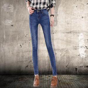 Modern idea2016新款牛仔裤女长裤修身显瘦小脚裤中腰弹力休闲铅笔裤