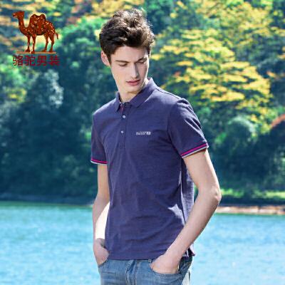 骆驼男装 夏季新款花纱纯色休闲短袖翻领POLO衫男青年T恤衫