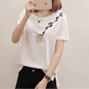 夏季清新图案chic白色短袖t恤女宽松显瘦韩范学生潮