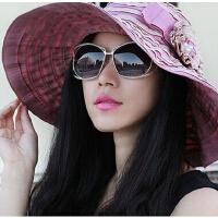 新款户外时尚帽褶草帽大沿帽 女士防紫外线太阳帽遮阳凉帽沙滩帽