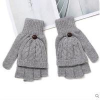 冬天男女半指翻盖手套情侣兔羊毛保暖手套打字可爱露半指翻盖手套