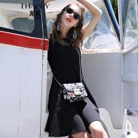 海贝夏季新款女装 圆领网纱拼接收腰修身显瘦无袖连衣裙中裙