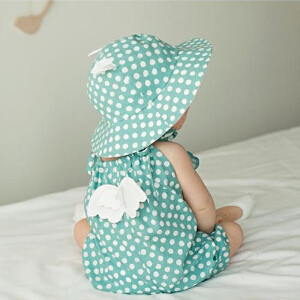 Yinbeler哈衣+帽子婴儿连体衣夏季棉质新生儿吊带哈衣宝宝无袖短款爬服波点薄款天使翅膀