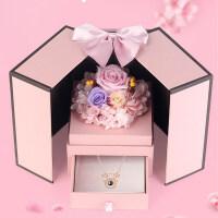 情人节永生花 礼盒玫瑰花 束首饰盒摆件创意生日礼物送女友朋友