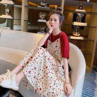 夏季女装套装长裙子2019韩版短袖吊带雪纺连衣裙学生风两件套 白色【两件套】