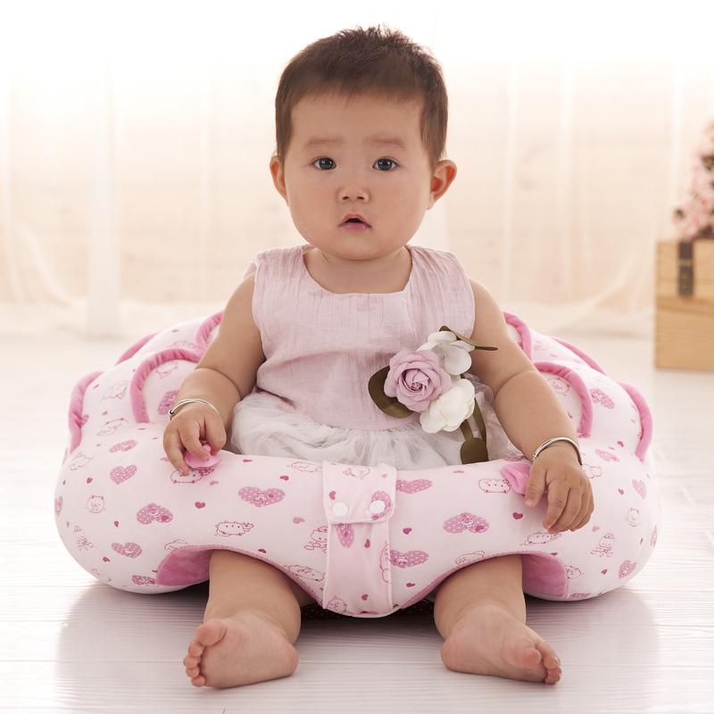 宝宝彩棉学坐靠垫坐垫婴儿沙发靠背女孩男孩百天生日礼物 约50*45*25CM,适合12-24个月台