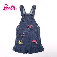 【满200减100】芭比童装女童秋装甜美立体织章时尚牛仔背带裙
