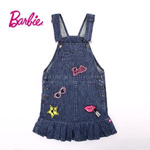 【满200减110】芭比童装女童秋装甜美立体织章时尚牛仔背带裙