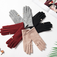 羊毛手套秋季开车分指保暖珍珠手套