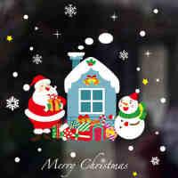 商场圣诞节装饰品墙贴雪花圣诞老人雪人店铺橱窗户贴花玻璃门贴纸