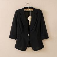2019女款小西装外套七分袖韩版时尚短款夏季显瘦大码百搭网纱 M 85~98