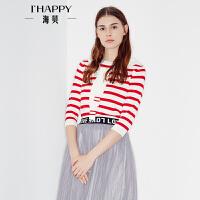 海贝2017秋季新款女装毛针织衫 圆领披肩条纹七分袖假两件套头衫